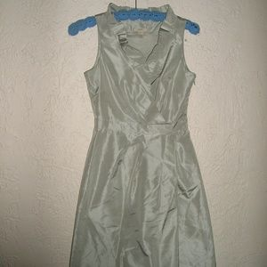 J CREW BLAKELY DRESS Silver SILK TAFFETA COCKTAIL